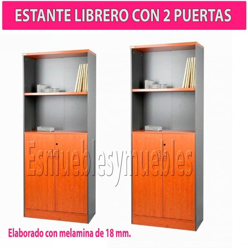 Comprar Estante Librero De Melamina Con 2 Puertas