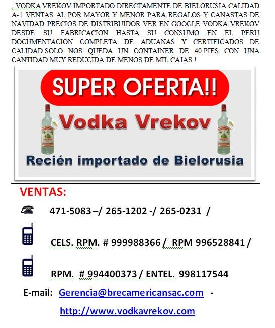 Comprar Vodka Vrekov