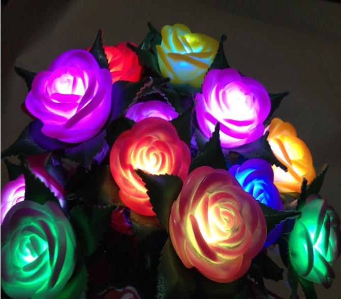 Comprar Flores rosas Led luminozas multicolor