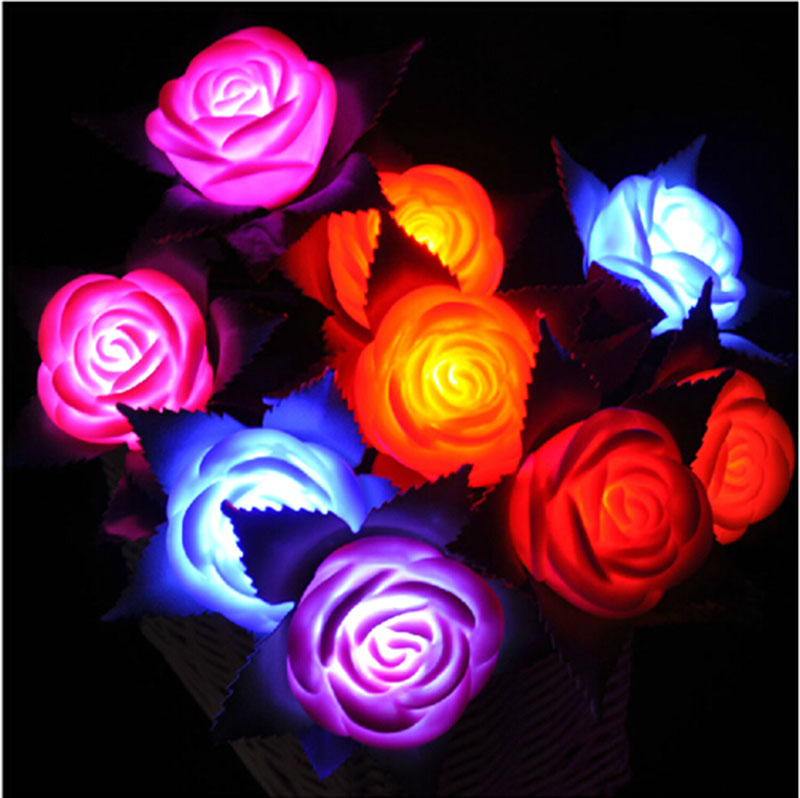 Flores Rosas Led Luminozas Luces Cambiantes
