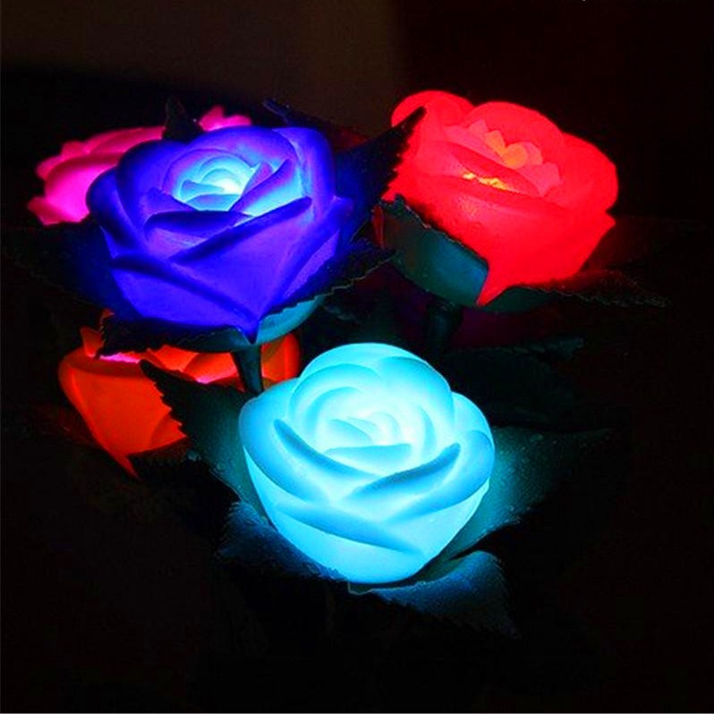 Comprar Flores Rosas Luminozas Led Cambia De Color Automatico Al Por Mayor Y Menor