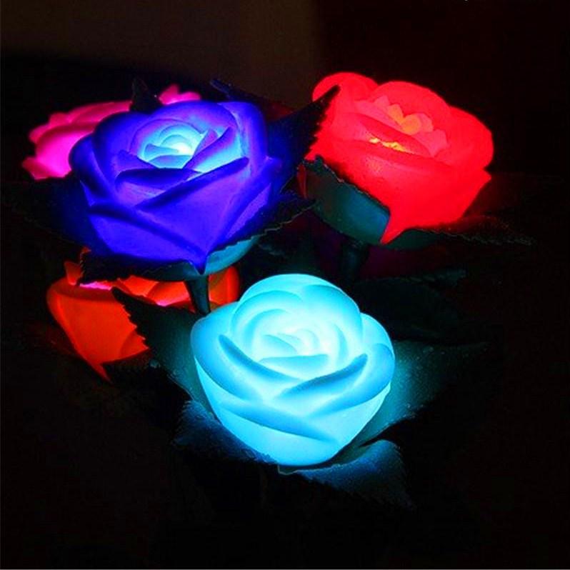 Comprar Flores Rosas Luminozas Led Cambia De Color Automatico Al Por Mayor Y Menor
