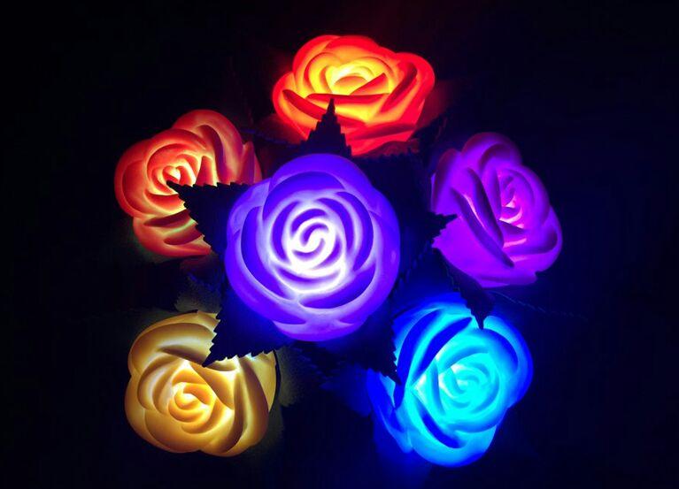 Comprar Flores Rosas Led Cambia De Color Automatico Al Por Mayor Y Menor