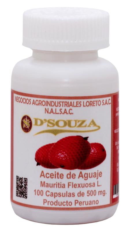 Comprar Aceite y Polvo Atomizado de Aguaje en Cápsulas D'SOUZA