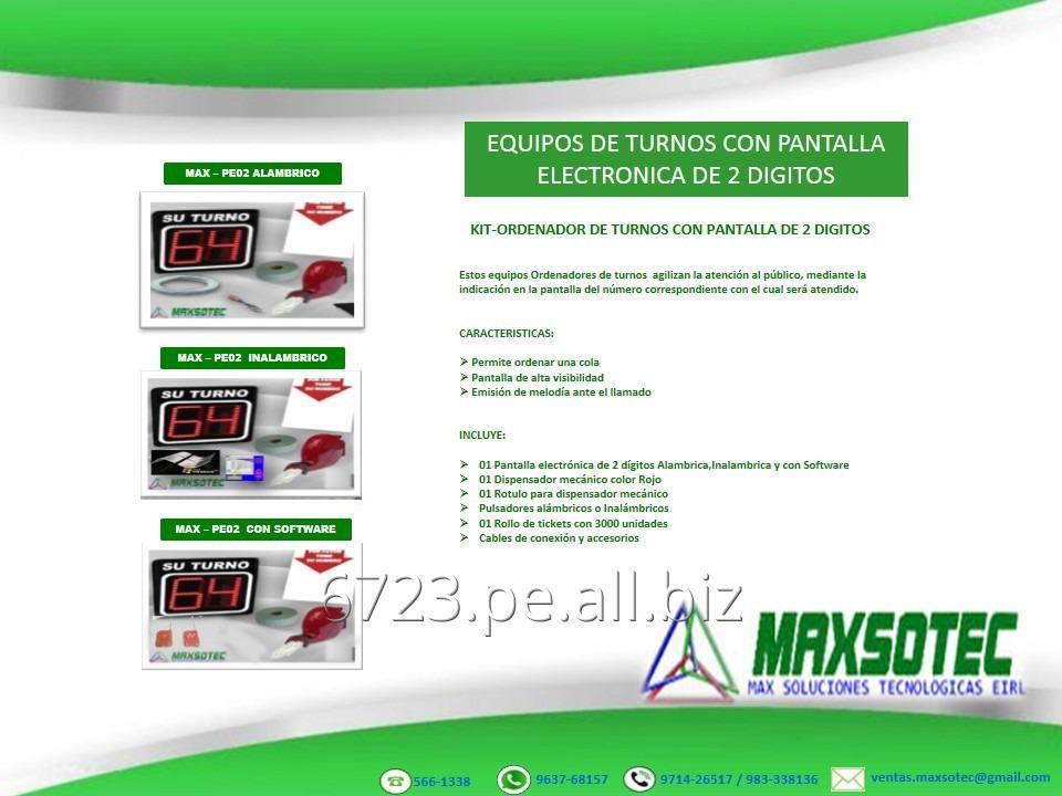 Comprar KIT ORDENADOR DE COLAS CON PANTALLA ELECTRÓNICA DE 2 ,3 Y 4 DÍGITOS