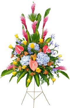 Comprar Ramo diseño en trípode con Ginger, anturios, docena de rosas, ho