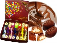 Chocolate candies in boxes