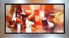Abstracto oleo moderno en tonos naranjas y marrones