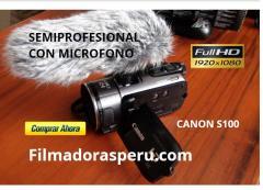 Filmadora Canon S100 Fullhd Semi Profesional con microfono