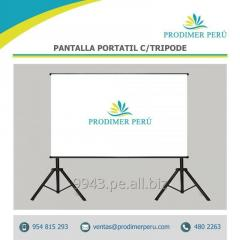 Pantalla O Ecran de proyeccion retractil doble tripode 3.00x.3.00 Mts antireflex