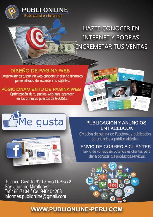 Pedido Publi Online:Diseño Web-Posicionamiento Web-Publicidad en Facebook para PYMES